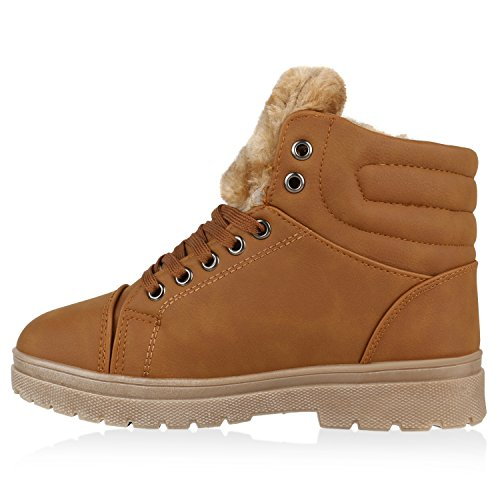 Damen Schuhe Outdoor Boots Warm gefüttert Gesteppt mit Blockabsatz Hellbraun Braun