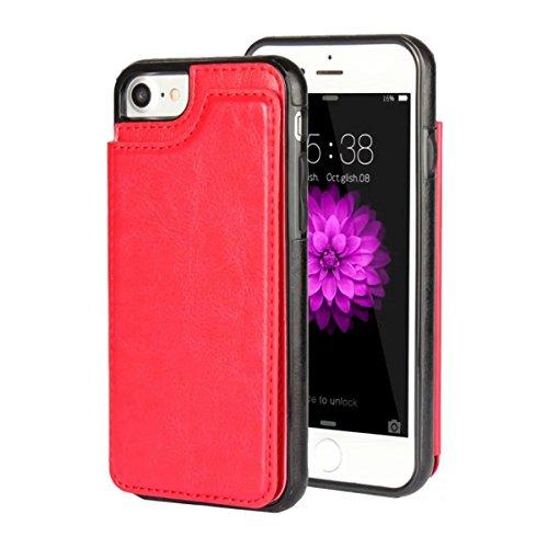 MOONCASE iPhone 7 Hülle, Pocketstyle Leder Schutzhülle Kartenfächer und Magnetverschluss Handyhülle Case für iPhone 7 (Schwarz) Rot