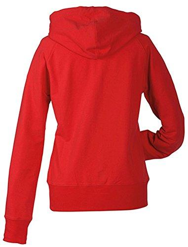 James & Nicholson Damen Sweatshirt Hooded Red
