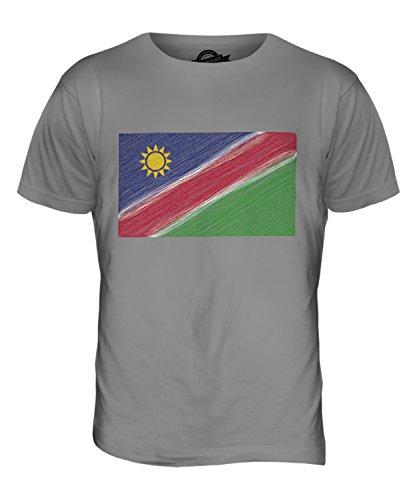 CandyMix Namibia Bandiera Scarabocchio T-Shirt da Uomo Maglietta Grigio chiaro