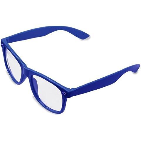 Lente clara Geek Retro Unisex Wayfarer Gafas, Marco de Color Negro Brillante, protección UV