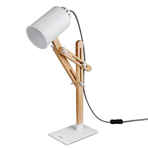 Tomons Holz multiple Winkel Schwenkarm Designer Lampe, Tisch-, Büro-, Bett-, Nachttischlampe Leselampe Lesen Studieren Arbeiten, mattes oder klares Licht, Verschiedene Lichtfarben- weiß