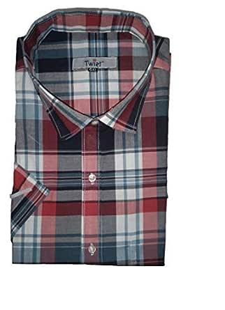 TWIST99 Twist Mens Italian Cotton Checkered Half Sleeve Shirt (Multicolour; L)