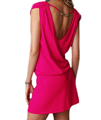 DELEY Femmes col V profond Swim Beach Dress dos ouvert Plage Cover Up Rose vif