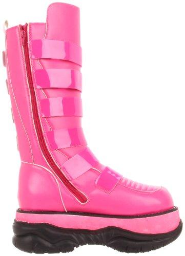 DEMONIA NEPTUNE - 310UV homme 3 plate-forme UV-Longues bottes montantes intérieure zippée Hot Pink