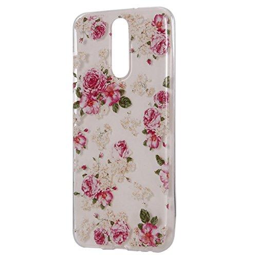 Surakey Compatible avec Coque Huawei Mate 10 Lite Étui Huawei Mate 10 Lite Transparente Silicone Gel TPU Souple Housse Etui Anti-Scratch TPU Bumper Case Housse de Protection, Fleur Rose