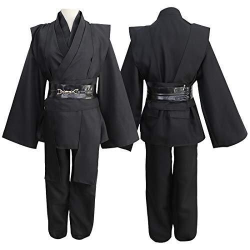 Velvet Kostüm Nylon - FLYA Kapuzen Robe Mantel Ritter Cosplay Kostüm Cape - Nylon Stoff,XL-Black