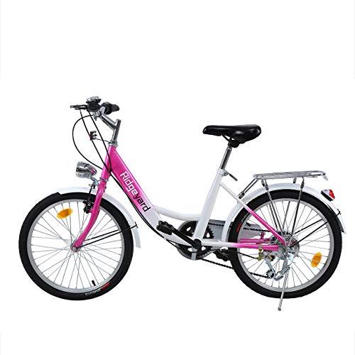 Ridgeyard 20 Zoll 6 Gang Kinder Fahrrad Jungen Mädchen Fahrrad für 12-16 Jahre Children Bicycle (Rosa + Weiß)