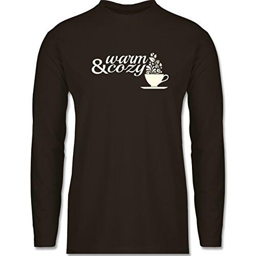 Shirtracer Statement Shirts - Warm & Cozy Tee - Herren Langarmshirt Braun