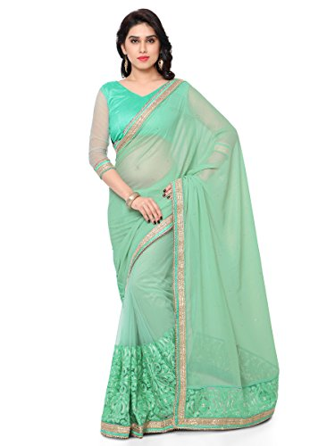 Kalish Women'S Lime Green Georgette & Net Embroidered Saree With Blouse Piece  available at amazon for Rs.2135