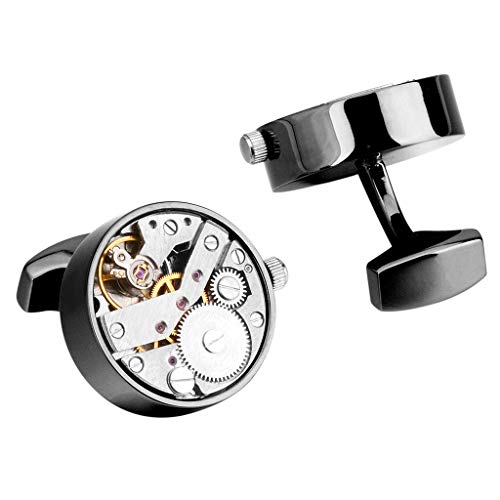 Herren Manschettenknöpfe Steampunk Zahnräder Mechanisches Uhrwerk Geschenk der Männer,Black