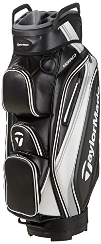 TaylorMade 2017 Monaco Cart Bag Mens Golf Trolley Bag 14-Way Divider Black/White/Silver