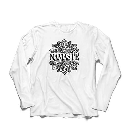 lepni.me Camiseta de Manga Larga para Hombre Meditación Yoga Namaste Mandala Zen Regalo Espiritual para Yogui (Small Blanco Multicolor)