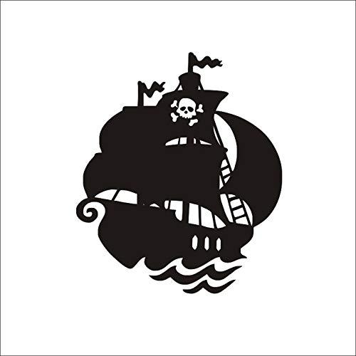 Wallfia Kreatives selbstklebendes PVC-Wandbild DIY Knochen Piratenschiff - Knochen Metall Spiegel