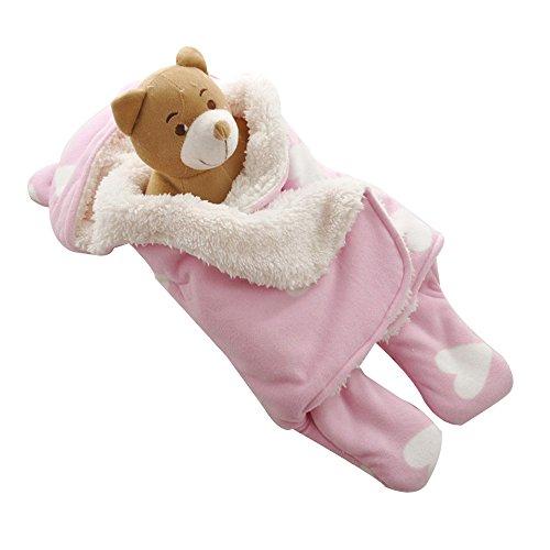 GreForest bambino Swaddle Rosa Cuore Separare le gambe per l'autunno e inverno 0-3 mesi