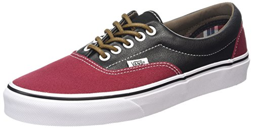 Vans Era Unisex-Erwachsene Low-Top Sneakers, Mehrfarbig (leather/plaid/rhubarb/black), 38 EU Plaid Low Top Sneaker