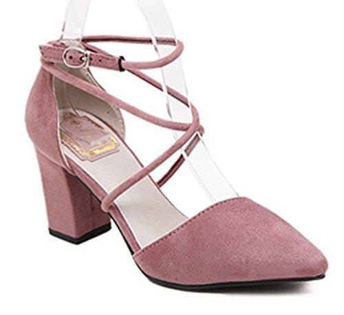 Minetom Mujer Elegante Nubuck Zapatos Puntiagudos Cruz Correa De Tobil