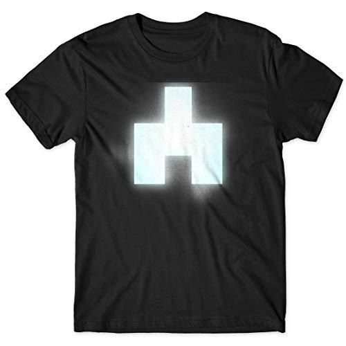 LaMAGLIERIA Camiseta Hombre Black Mirror Bandersnatch White Bear Symbol Cod Bm04 - Camiseta 100% algodón TV Show t-Shirt, M, Negro