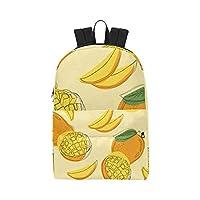Ripe Yellow Mango Fruit Classic Cute Waterproof Laptop Daypack Bags School College Causal Backpacks Rucksacks Bookbag for Kids Women and Men Travel with Zipper and Inner Pocket