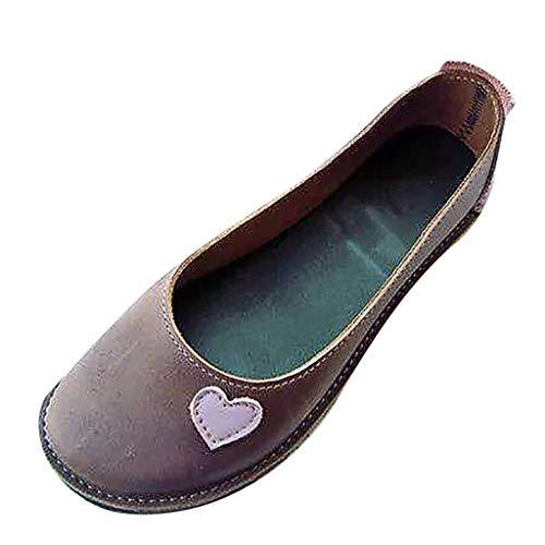 Damen Sommer Sandalen Halbschuhe Bootsschuhe Loafers Fahren Flache Schuhe Slippers Erbsenschuhe Low-top Schuhe Vintage Komfort Arbeitsschuhe (EU:36, Lila)