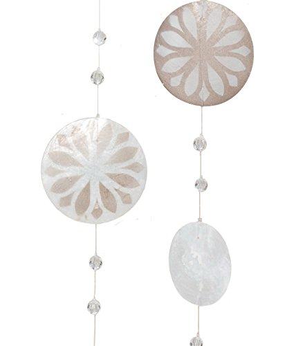 Home Collection 2er Set Capiz-Girlande 180cm Windspiel Dekoration Grau Perlmutt