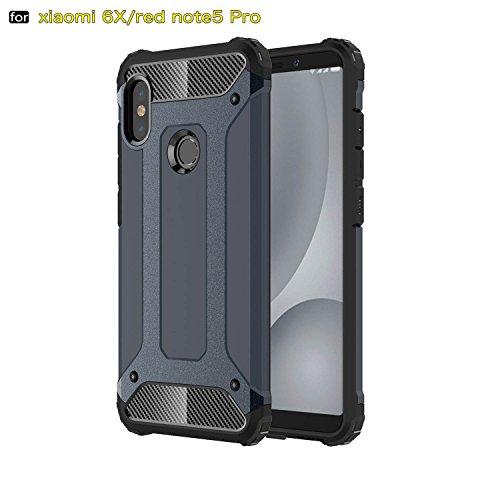 xinyunew Funda Xiaomi Redmi Note 5 Pro, 360 Grados Protección +Vidrio Templado Protector Pantalla Silicona Caso Cover Case Carcasas TPU + plastico Anti Arañazos de Protectora - Azul Marino