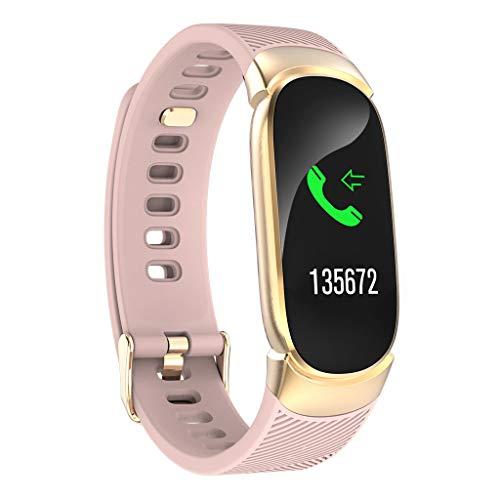 Smartwatch Fitness Tracker Impermeabile QW16 Orologio iOS Android Uomo Donna Bambini monitoraggio Sonno Contapassi Calorie Cardiofrequenzimetro da Polso Pressione Sanguigna Watch (Rosa)