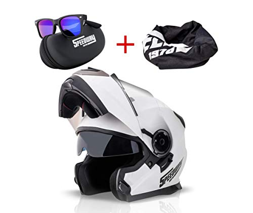 Casco Moto Modular SPEEDWAY con ECE y DOT Homologado - OSMA Casco de Moto Scooter para Mujer Hombre Adultos con Doble Visera -Negro Mate y Blanco (S, BLANCO)
