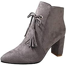 Zapatos con Flecos Botas Al Tobillo Botas de Mujer EN Negro o Rosa//Botas con Tacón de Imitación de Cuero con Tacón Cómodo DE 7.5cm Estilo Vaquero Mujer ...