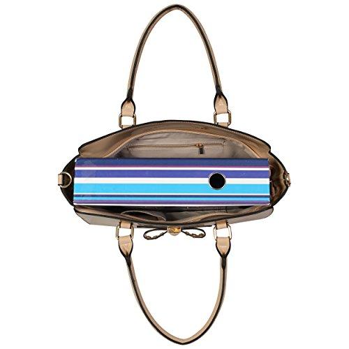 LeahWard® Damen Mode Essener Qualität Patent Bogen Tragetasche Kunstleder Shinny Handtasche mit Gurt CWS00176 CWS00384 CWS00386 Bogen Tasche Beige