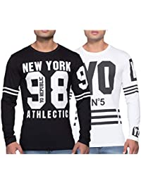Yo Republic Mens Cotton Tshirt Combo Offer(Pack of 2)(AT-0372-1 XXL_Black_White_XX-Large)