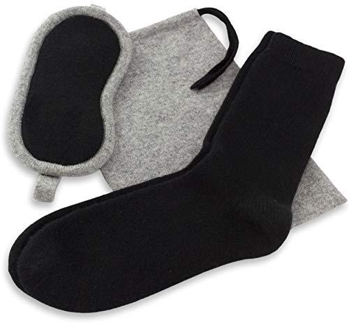 Jet&Bo Herren Reise-Set aus 100 % reinem Kaschmir: Augenmaske, Socken und Beutel -