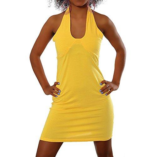 H114 Damen Longshirt Tunika Kleid Bluse Pullover Shirt Minikleid Gelb