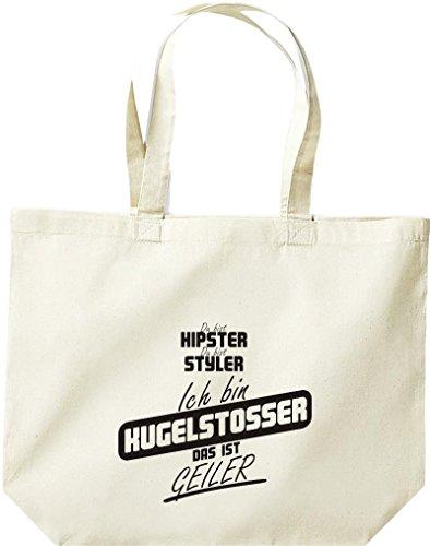 Shirtstown große Einkaufstasche, Shopper du bist hipster du bist styler ich bin Kugelstosser das ist geiler natur