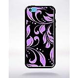 Générique Coque Baroque Mauve Compatible Apple iphone 5c Bord Noir Silicone