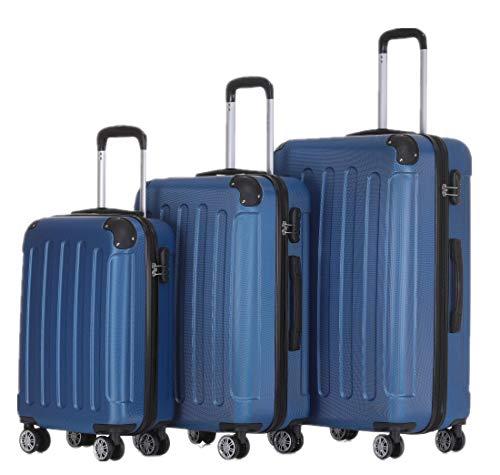 BEIBYE 2045 Zwillingsrollen 3tlg. Reisekoffer Koffer Kofferset Trolleys Hartschale in 14 Farben (Blau)