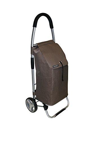 Faltbarer XL Shopping Trolley mit 40 Liter Volumen. Mit Alu-Gestänge, Polyester Tasche in Braun , Kordelzug und großen Rädern. Top!