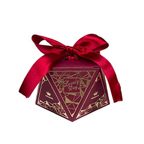 F-blue 50Pcs / Set Hochzeit Ribbon Candy Box Hochzeit Geburtstag Favor Geometric Bronzing-Geschenk-Kasten-Kasten Blue Ribbon Candy