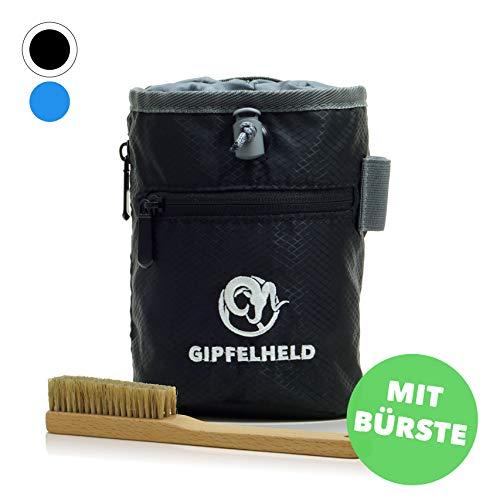 Gipfelheld® Chalkbag Set schwarz mit Boulder-Bürste zum Klettern und Bouldern, Magnesia-Beutel mit Karabiner, Hüftgurt und 2 Taschen, Kreide-Beutel auch für Crossfit und Gewichtheben