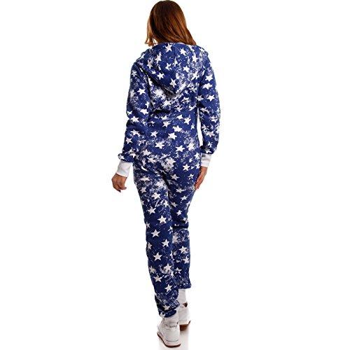 Jumpsuit Strampler Ganzkörperanzug Overall Sternen Weihnachtssterne Kuschelig Warm Blau (A)