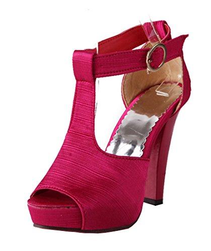 YE Damen Blockabsatz High Heels Plateau T-Spangen Satin Pumps mit Riemchen Roter Sohle Sandalen Schuhe Rose