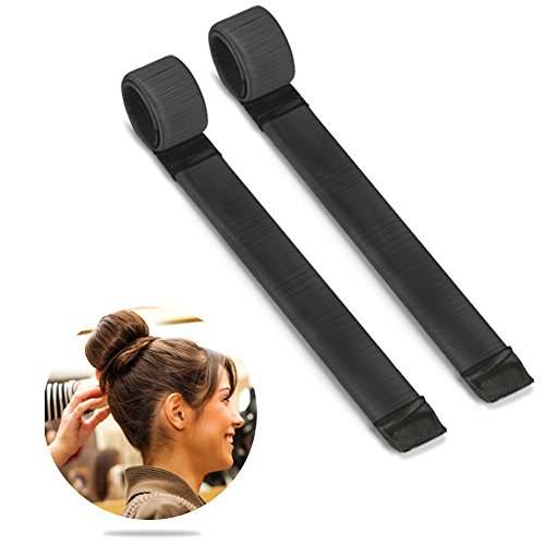 Bestidy 2pcs donne capelli parrucca hairdisk creatore del panino french twist hair - donut hair bun maker styling diy strumento (black)