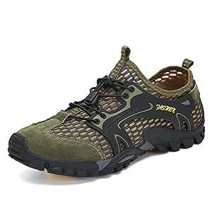 Flarut Sandali Sneakers Sportivi Estivi Uomo Trekking Scarpe da Spiaggia All'aperto Pescatore Piscina Acqua Mare Escursionismo Leggero(Verde,40)