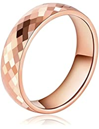 Daesar Joyería Anillo Acero de Tungsteno Hombre Diamante Forma Alianzas Boda Compromiso Pedida Oro Rosa