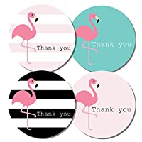 Thank you stickers - 30mm diameter - Flamingo designs - 4 designs per pack, great for parties, envelopes, gifts (48 stickers (30mm diameter))
