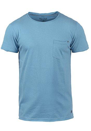 BLEND Flix Herren T-Shirt Rundhals, Größe:S;Farbe:Niagara Blue (74628)