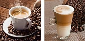 Eurographics AKT-DG-DT6178SET Set de 2 tableaux en verre décoratifs sur le thème du café, (2 x) 20 x 20 cm