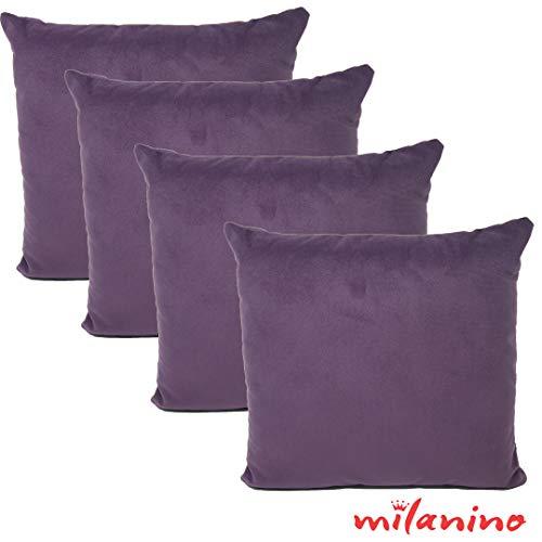 milanino 4er Set Dekokissen mit Füllung und Bezug   40x40 cm   Premium Füllkissen samtweich Sofakissen Couchkissen Zierkissen mit Kissenhülle   pflegeleicht   mit Reißverschluss   Design (Lila)