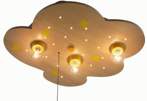Niermann Standby 618 W Deckenleuchte Wolke buche, mit Mond und Sternen, inklusive Leuchtmittel: 3 x E14 max