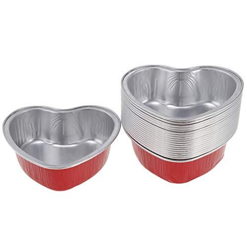 Flameer confezione da 20, tazze monouso in foglio di alluminio, teglie/crostate, congelatore e forno sicuro - per cuocere, cucinare, conservare cibo, servir - rosso